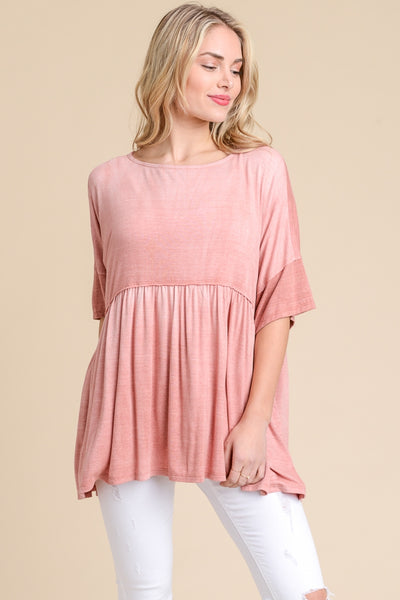 Rust Color Oversized Baby Doll Top