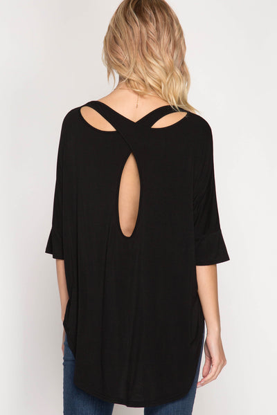 Cut Out Back Black Top