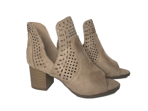 Suede Cut Out Summer Open Toe Booties - Southern Chique Boutique