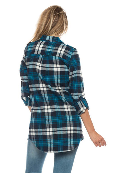 Plaid Flannel Tunic with Side Pockets - Southern Chique Boutique