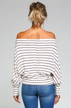 Off the Shoulder Rayon  Striped Top - Southern Chique Boutique