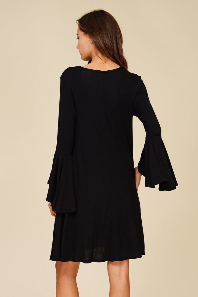 Keyhole Dress with Bell Sleeves