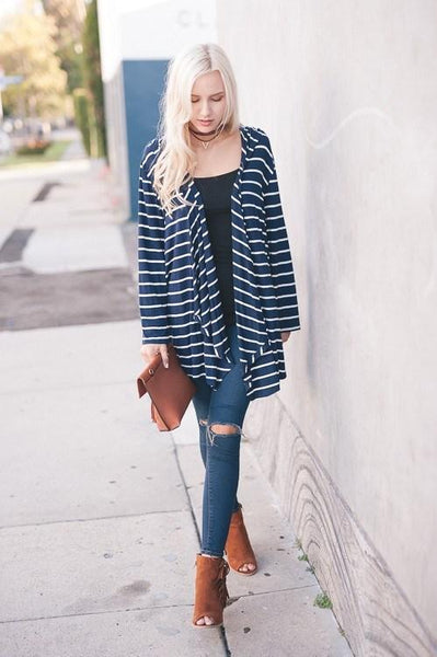 Hooded Navy Stripe Open Cardigan - Southern Chique Boutique