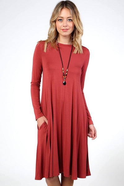 Round Neck Swing Modal Dress - Southern Chique Boutique