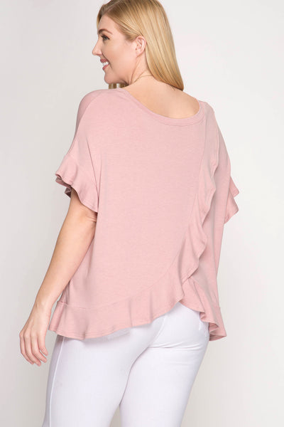 Dusty Rose Drop Shoulder Back with Ruffles