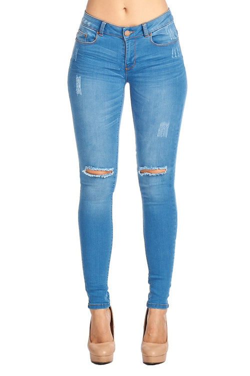 Ripped Knee Medium Wash Jeans - Southern Chique Boutique