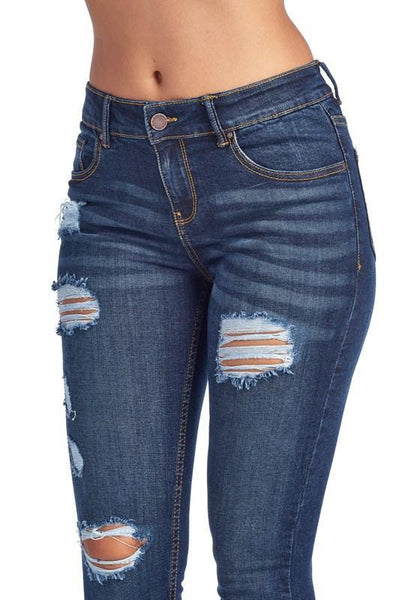 Ripped Dark Wash Skinny Jeans - Southern Chique Boutique