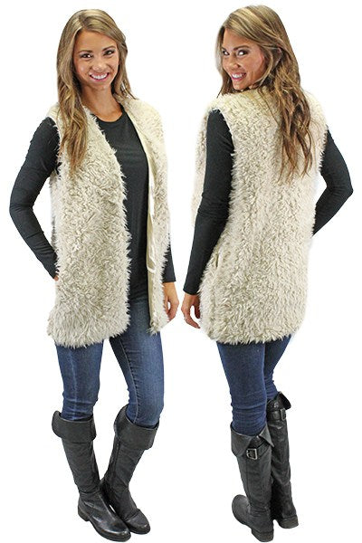 Fur Vest with Pockets - Southern Chique Boutique