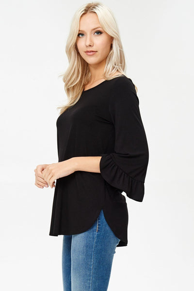 Ruffled Sleeve 3/4 Top - Southern Chique Boutique