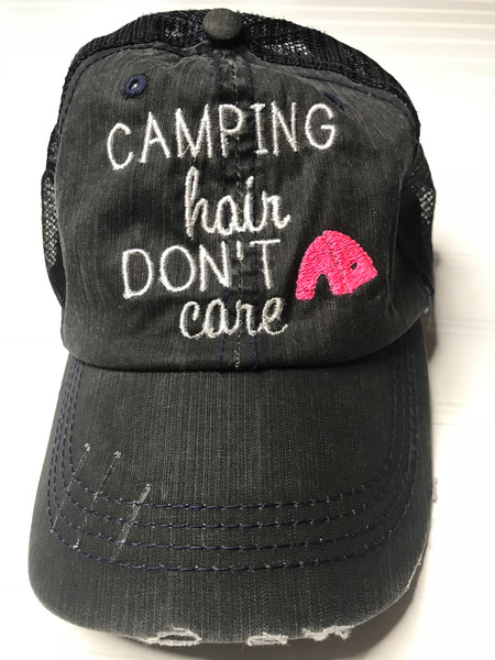 Camping Hair Don't Care Distressed Trucker Hat