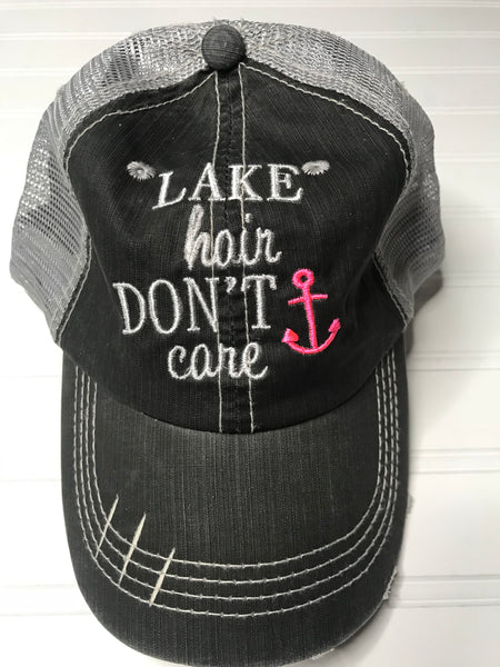 Lake Hair Don't Care Distressed Trucker Hat