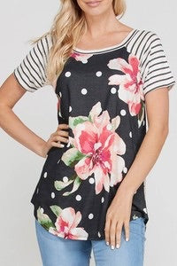 Floral top with stripes on sleeves