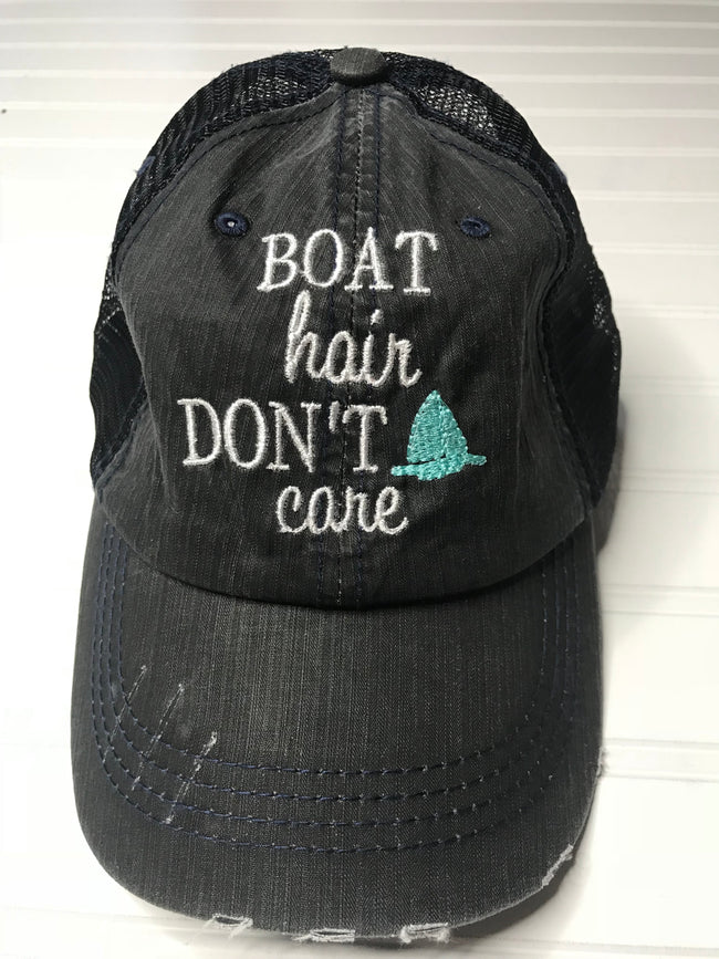 Boat Hair Don't Care Distressed Trucker Hat