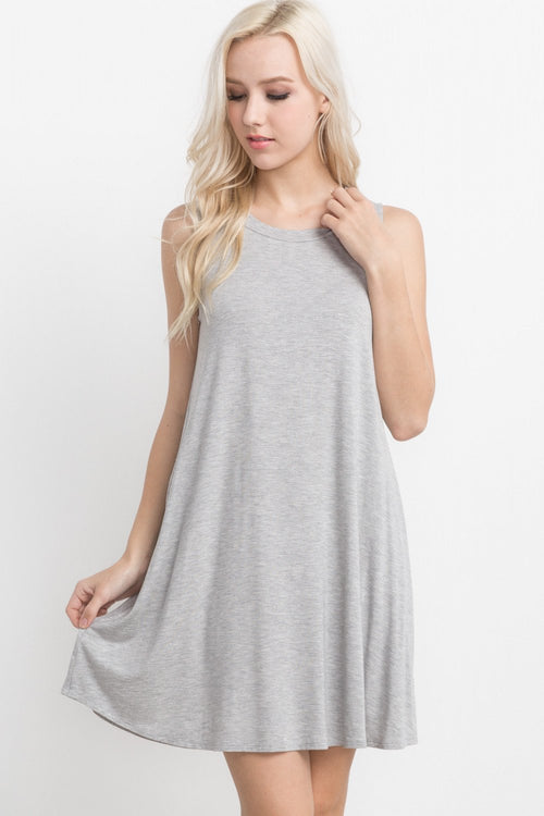 Sleeveless Light Grey Bamboo Shift Dress - Southern Chique Boutique