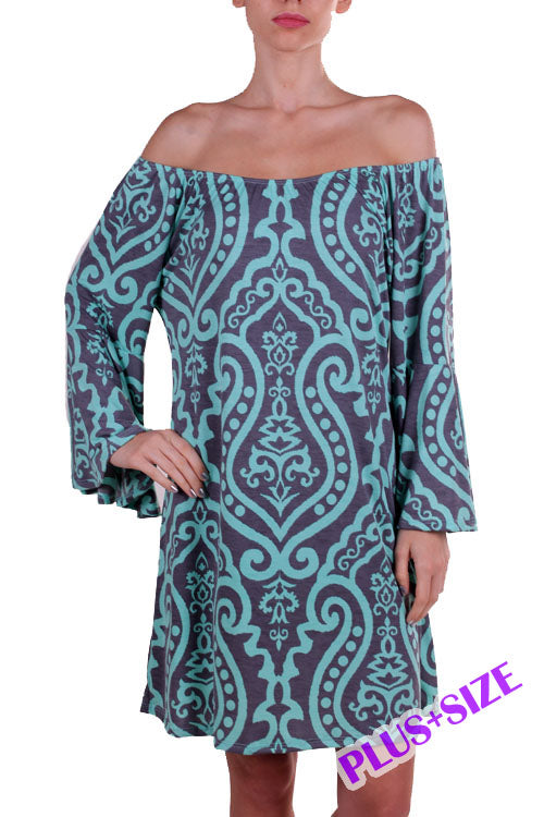 Mint and Grey Damask Print Dress