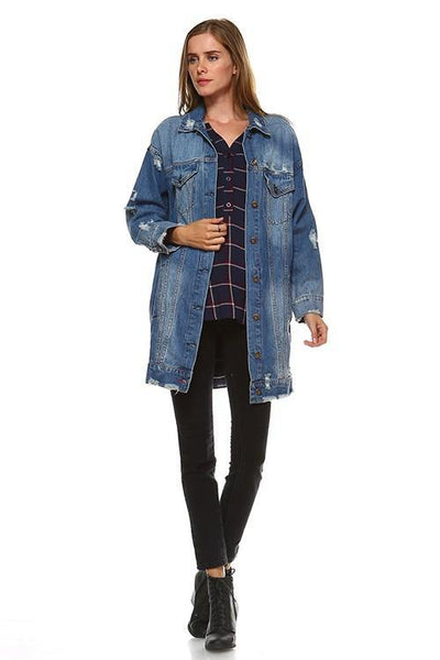 Oversized Distressed Denim Jacket - Southern Chique Boutique