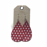 Red with White Polka Dots Leather Earrings