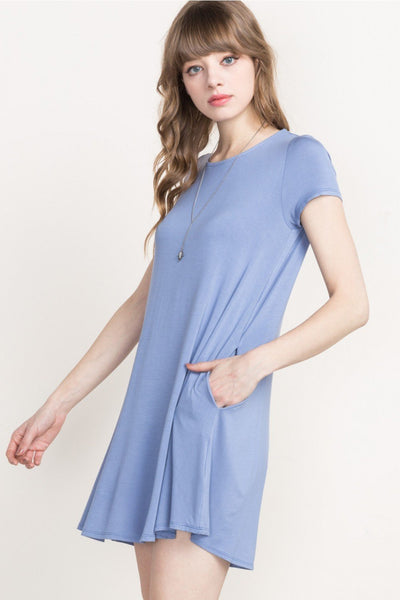 Slate Blue Bamboo T-Shirt Dress - Southern Chique Boutique