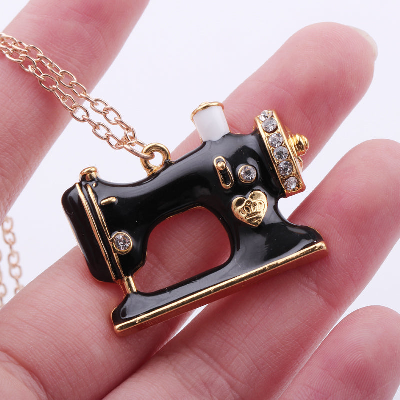Black & Gold Sewing Machine Necklace