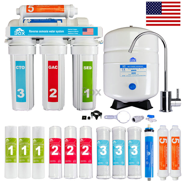 3ox  5 Stage Reverse Osmosis System Drinking Water Filtration System + 7 Extra Filter