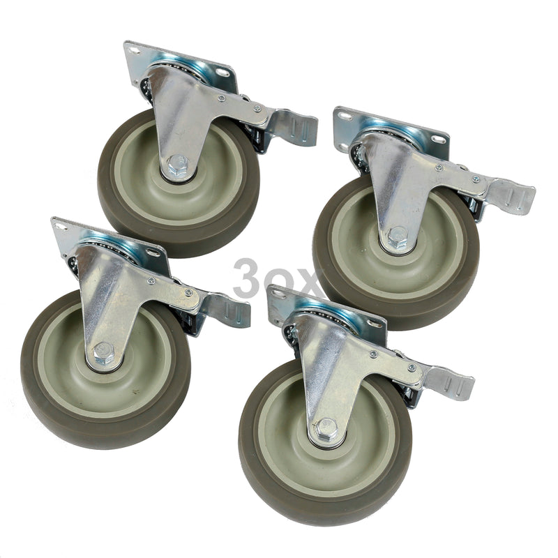 3ox 4 Pack Heavy Duty 5'' Swivel Bearing Caster Wheel All With Brake Polyurethane 1320lb