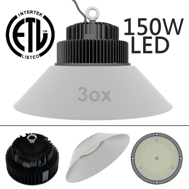 3ox 150W 200W LED High Bay Warehouse Lights Hanging Fixture Commercial Industrial Construction