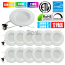 "3ox 12 Pack 5'' 6"" Dimmable LED Disk Light Flush mount Retrofit Downlight Kits LED Ceiling Lamp Downlight"