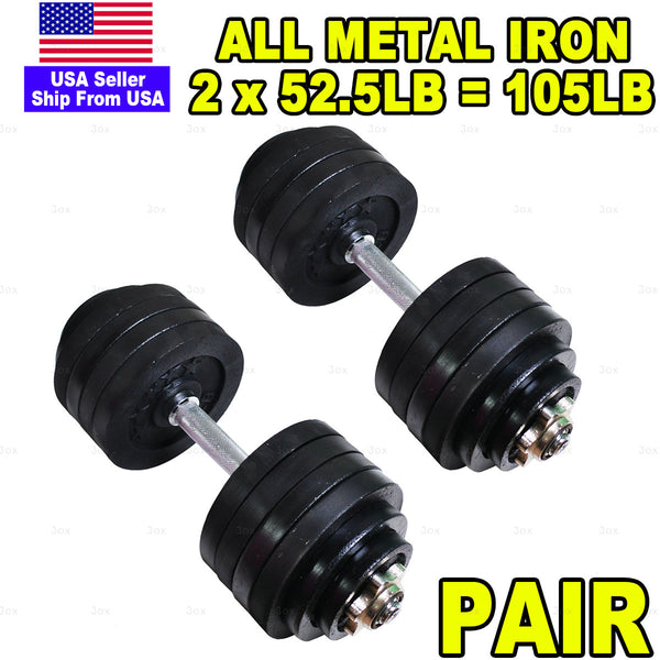 3ox Full Iron 2 x 52.5lb Adjustable Dumbbells Set Full Metal Total 105lb Weights Sets Black Plated Cast Iron 1 Pair