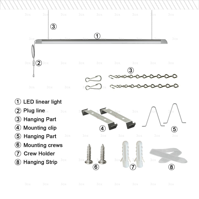 3ox Wholesale 12 Pack 54W Utility LED Sholight Garage Workbench Ceiling Linkable