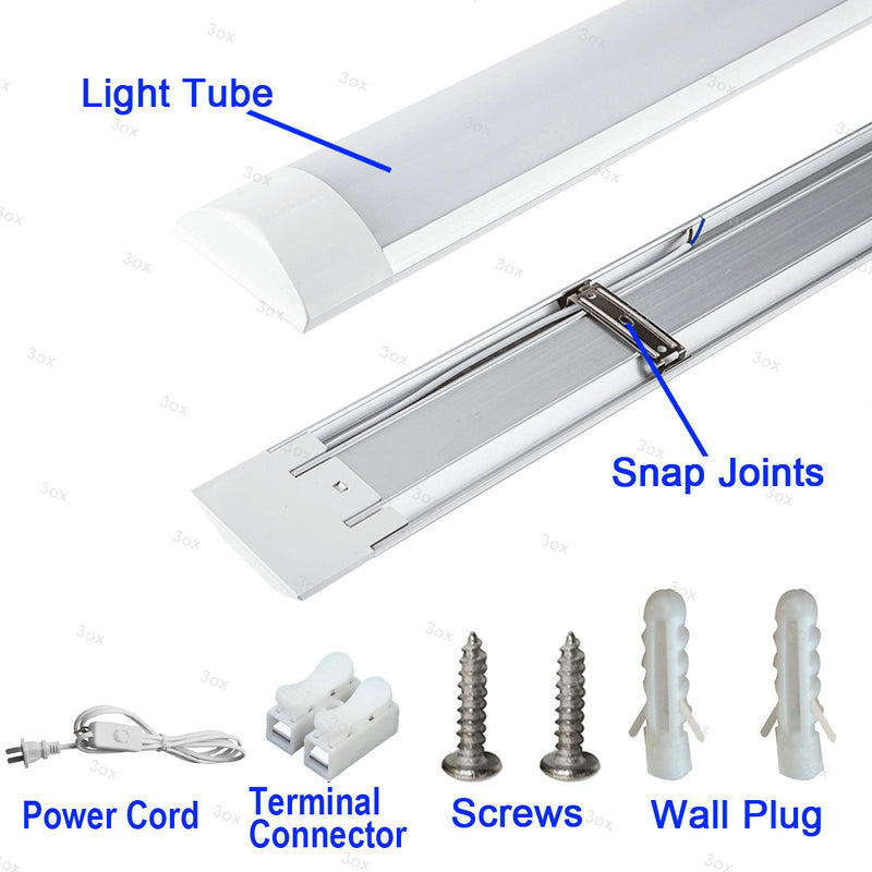 4 Pack LED Shop Light Utility Ceiling Garage Workshop Easy Mount LED 36W Power Cord On/ Off Switch