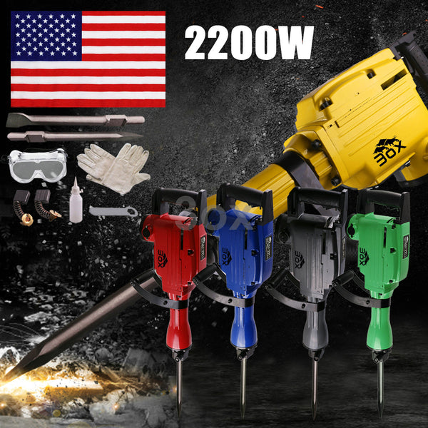 3ox Industrial 2200 Watt Electric Demolition Jack Hammer Chisel Bit Concrete Breaker