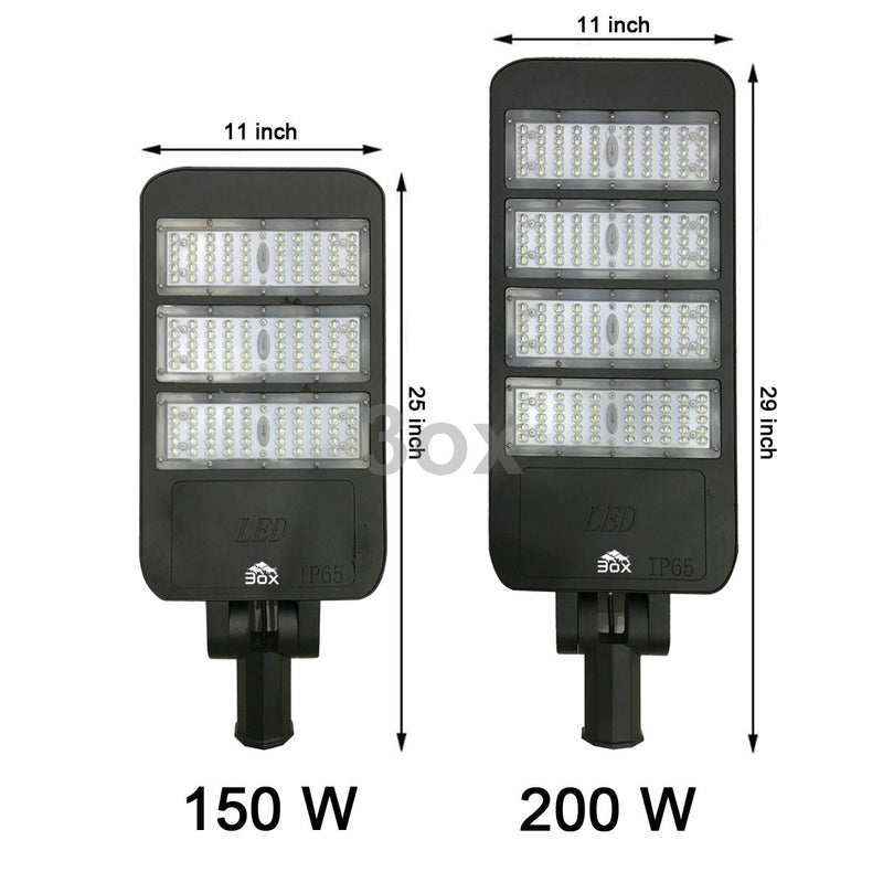 3ox 150W 200W LED Parking Lot Shoebox Street Light Outdoor IP66 Lamp 6000K Fixture