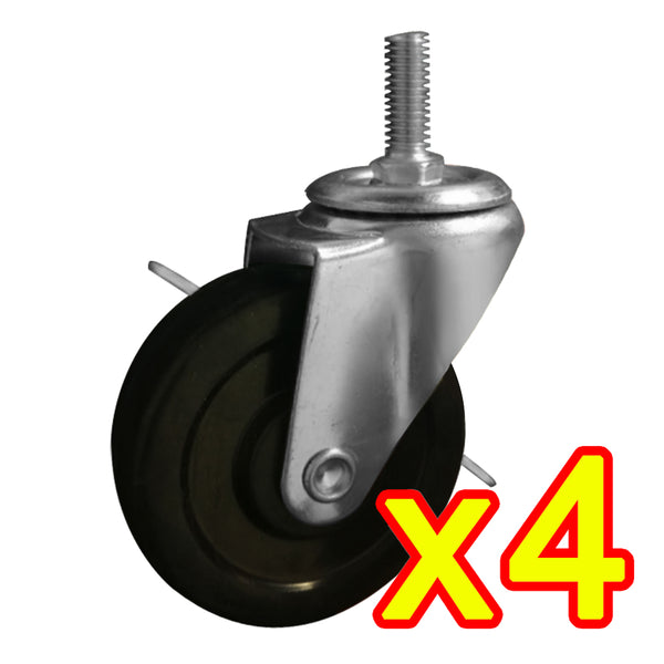 3ox 4 Pack 3 Inch Rubber Casters Heavy Duty Safety Brake Wheels For Wire Shelving Rack