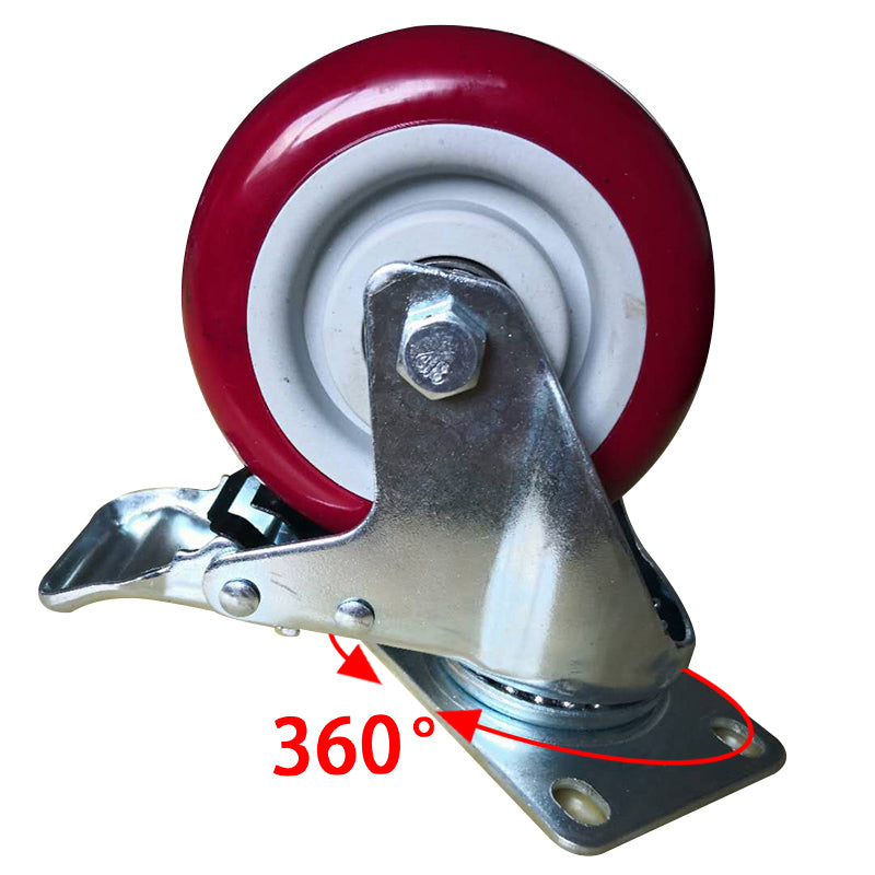3ox 4 Pack Heavy Duty 5 inch Swivel Bearing Caster Wheel With Brake Polyurethane 1320lb