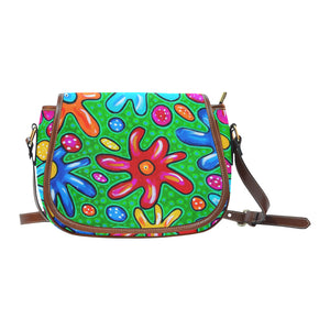 Flowers Small Saddle Bag (Model 1649) (Small)