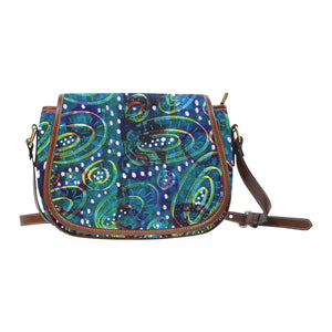 Green Circles Small Saddle Bag (Model 1649) (Small)