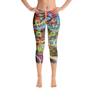 Colorful Holes Capri Leggings