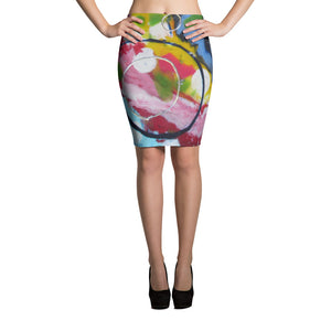 Blue Circle Pencil Skirt
