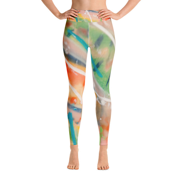 White Leaves Yoga Leggings