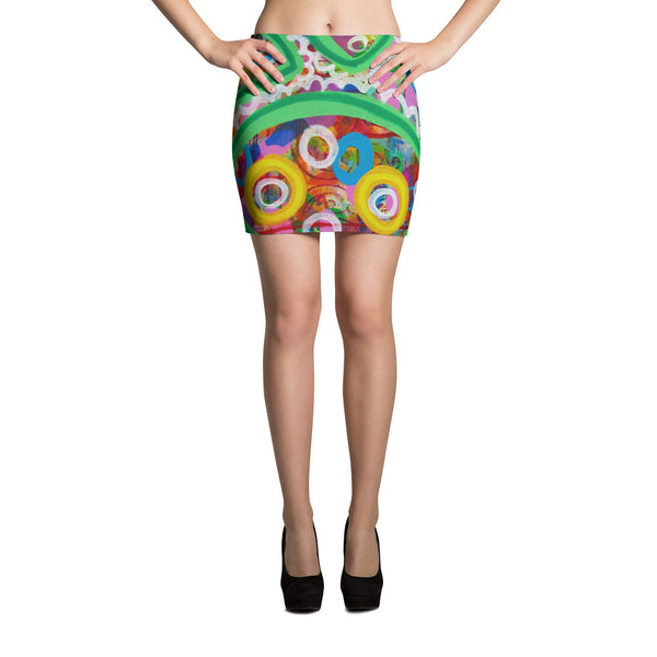 Green Line Mini Skirt