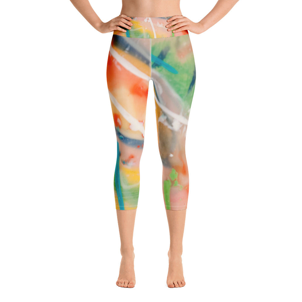 White Leaves Yoga Capri Leggings