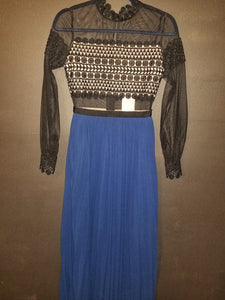 Black & Blue Sheer and Lace Dress
