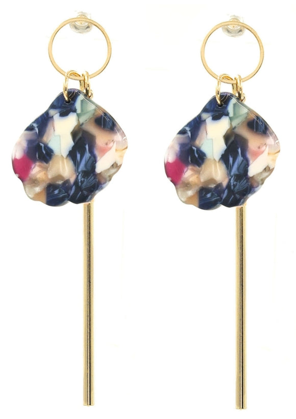 Gold drop with multicolor earrings