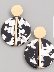 Black and white w/gold circle earrings