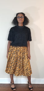 Mustard and black pleated leopard skirt