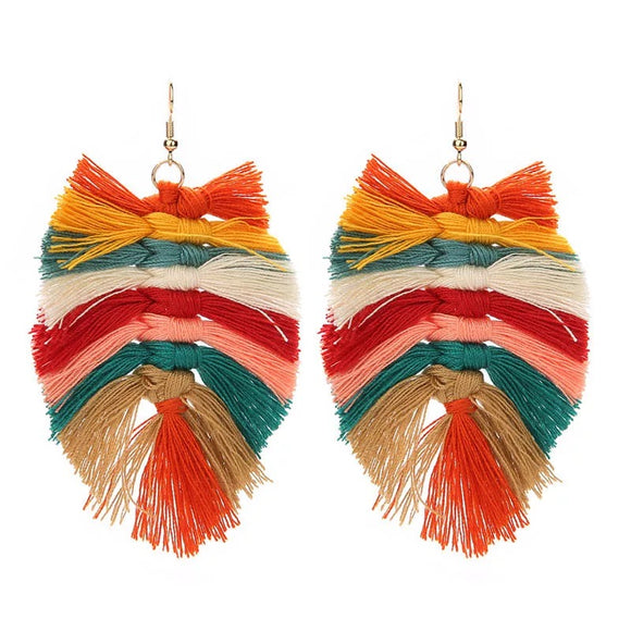 Earth tone tassel earrings