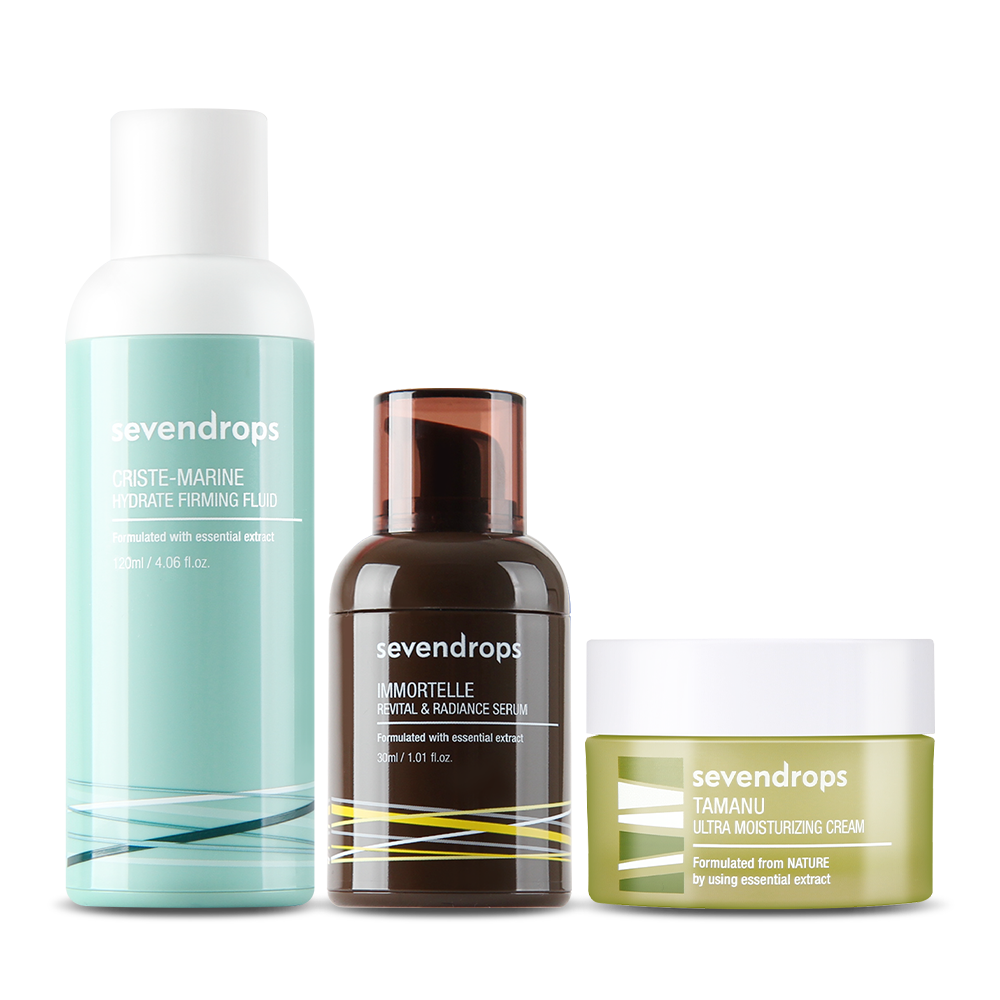 Dry Skin Solution Set (Fluid+Serum+Cream)+Bonus Gift TAMANU Cream!