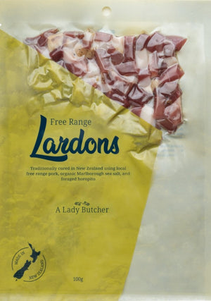 A Lady Butcher Charcuterie  Free range Lardons two  100g packs