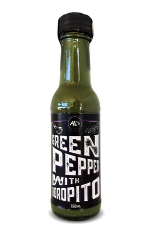 Al's Green pepper sauce with horopito 150ml