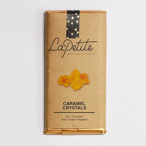 La Petite Chocolat Bar 70% Dark with Caramel Crystals 70gm